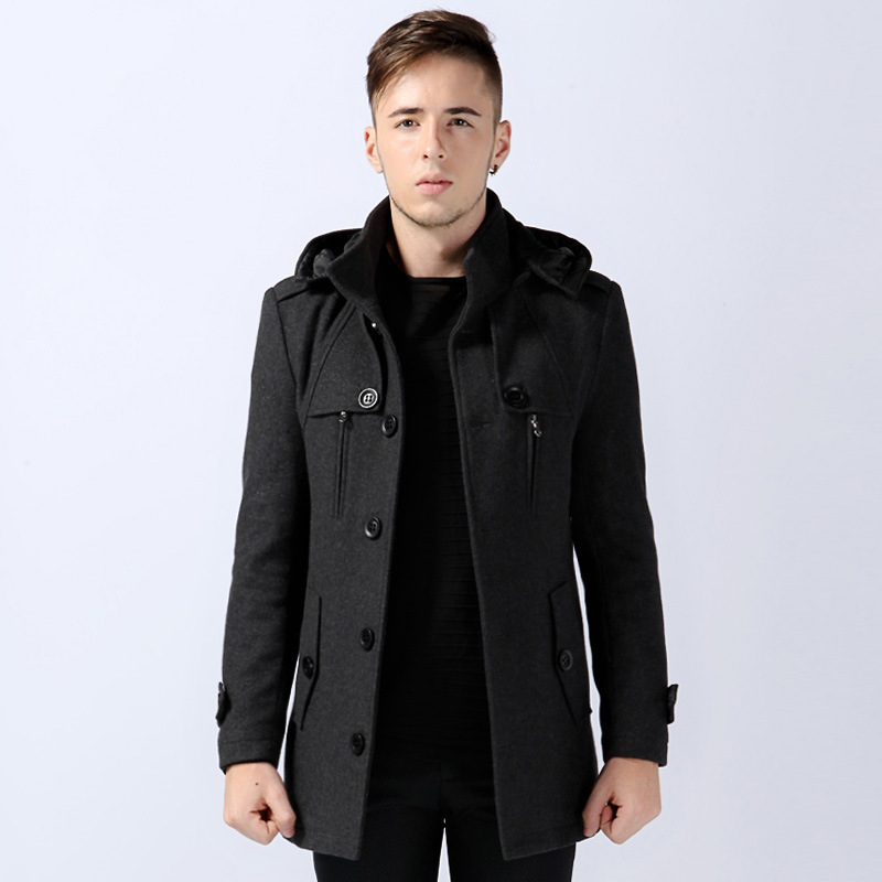 Pea Coat Hood Men