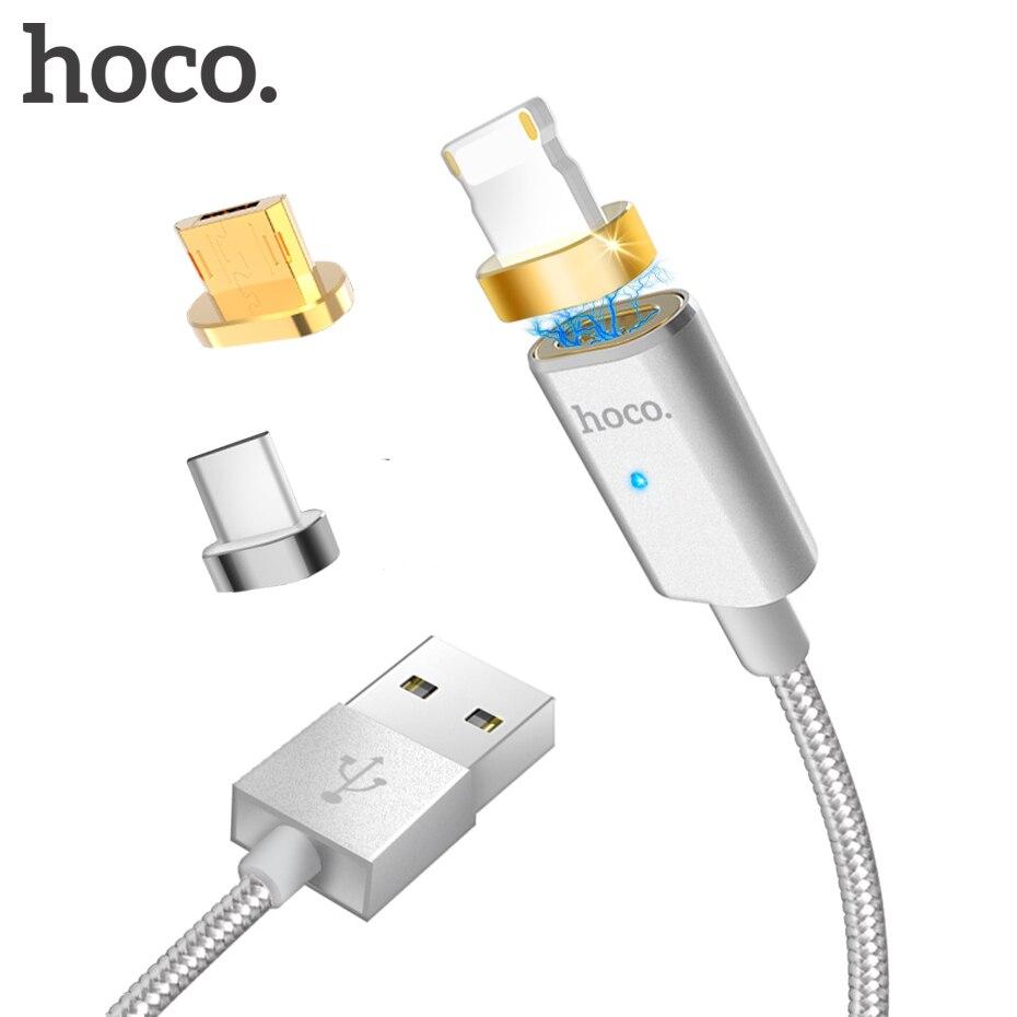 HOCO USB Données de Charge Magnétique Câble 2.4A USB à La Foudre/Micro/Type-C Rapide Chargeur Câble De Charge pour iPhone Samsung Xiaomi