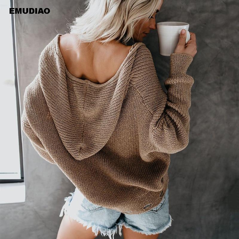Khaki Cardigan Women Knitted Long Sleeve Hooded Woman Sweaters Autumn Winter 2019 Casual Streetwear Feminine Coat Pull Femme in Cardigans from Women 39 s Clothing