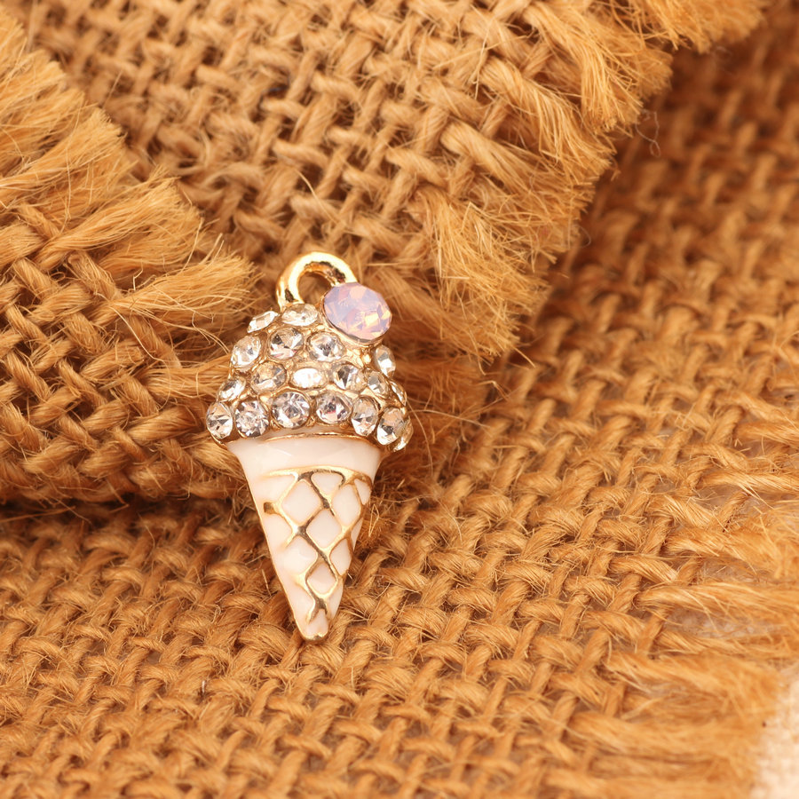 Wholesale 11*21MM Crystal Rhinestone Alloy Ice Cream Pendant Charms Gold Tone Kawaii Food Bracelet Necklace Charm with Jelly DIY