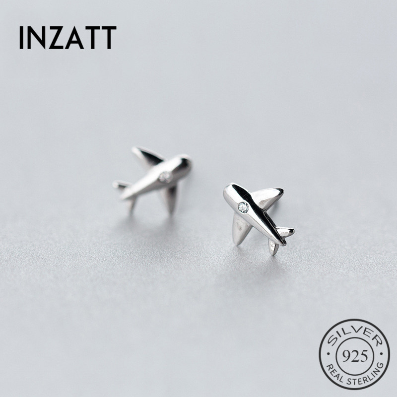 INZATT Punk Real 925 Sterling Silver Zircon Stud Earrings Airplane Fashion Accessories For Women Birthday Party Jewelry Gift image