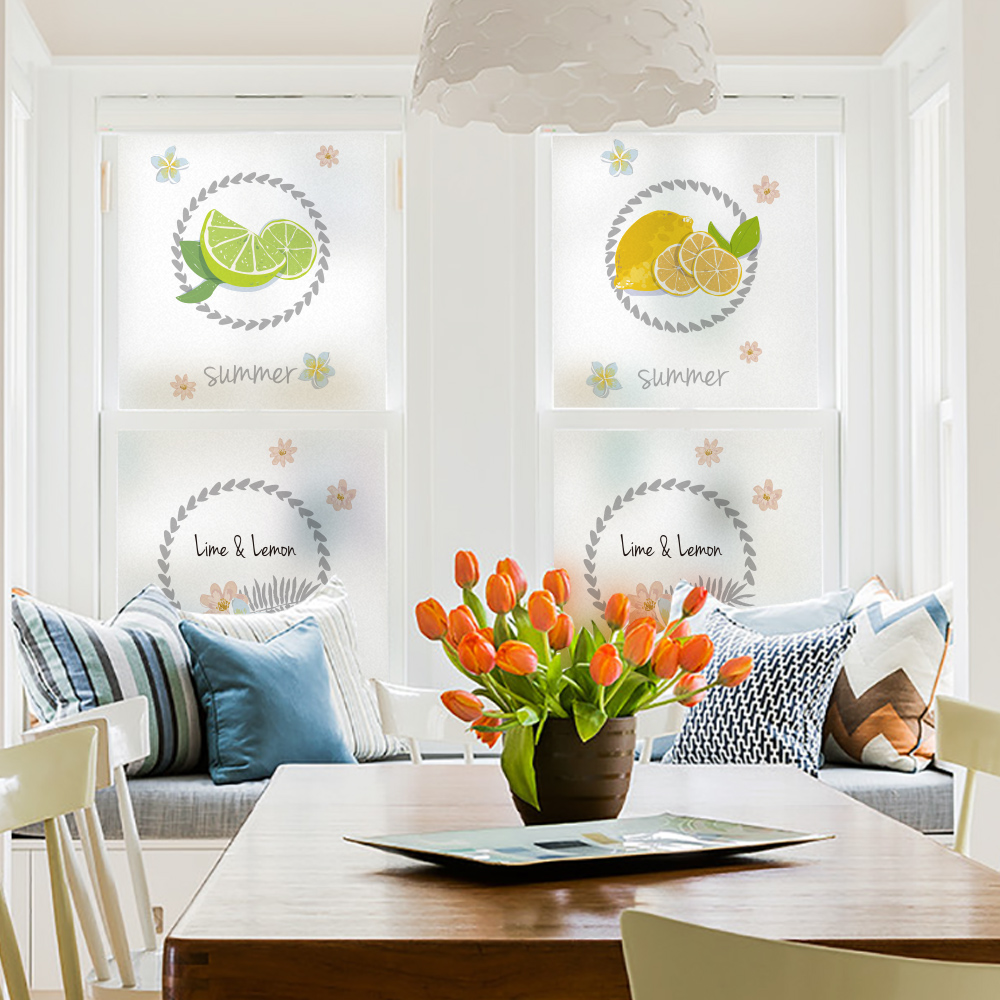 DICOR Lemon Stained Glass Sticker Fruit Flowers DIY Window Decorative Flim Etched Opaque Privacy Stickers Glass Decal Home Decor in Decorative Films from Home Garden