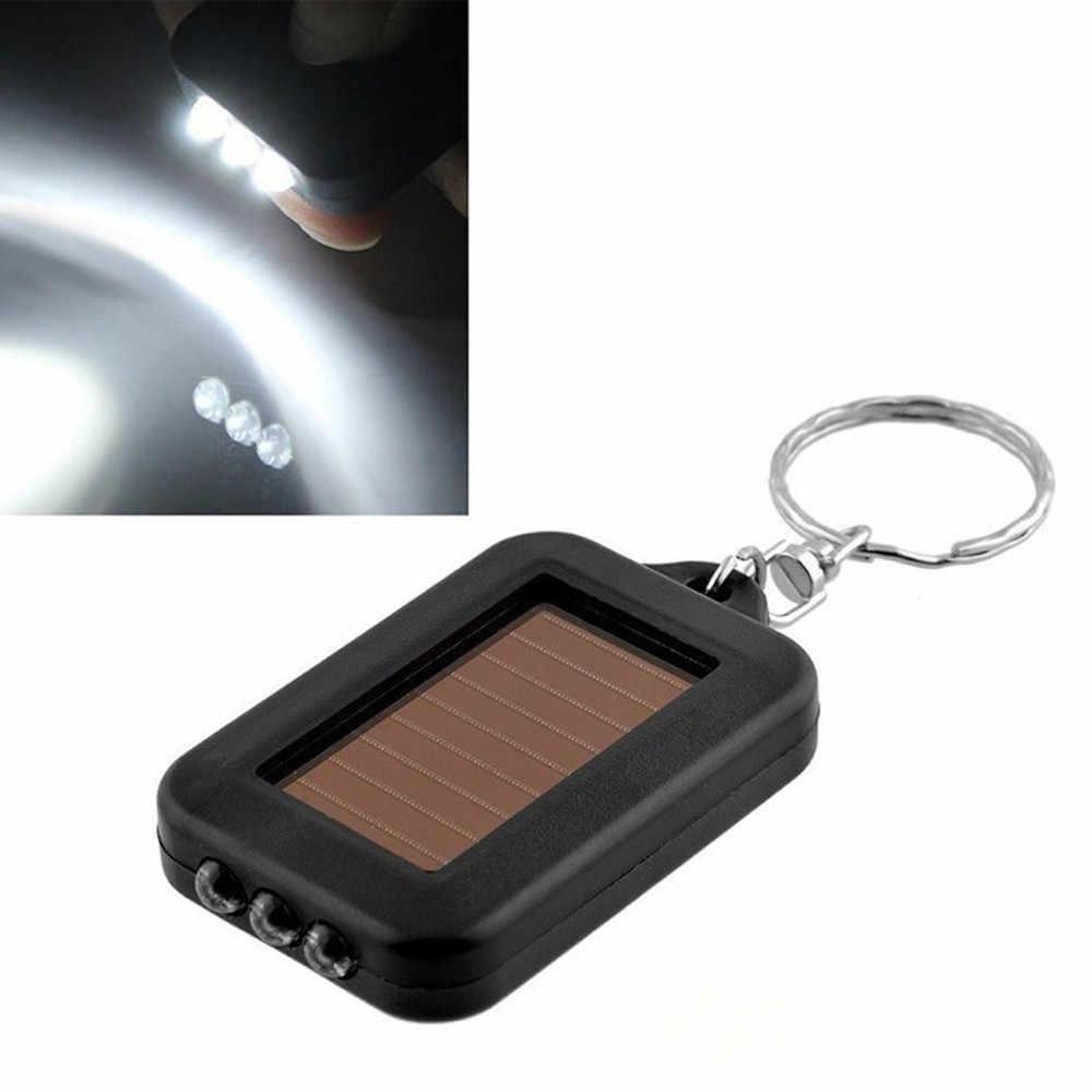ミニポータブル太陽光発電 3 LED ライトキーホルダーキーリングトーチ懐中電灯再有償内蔵バッテリー新ブランド