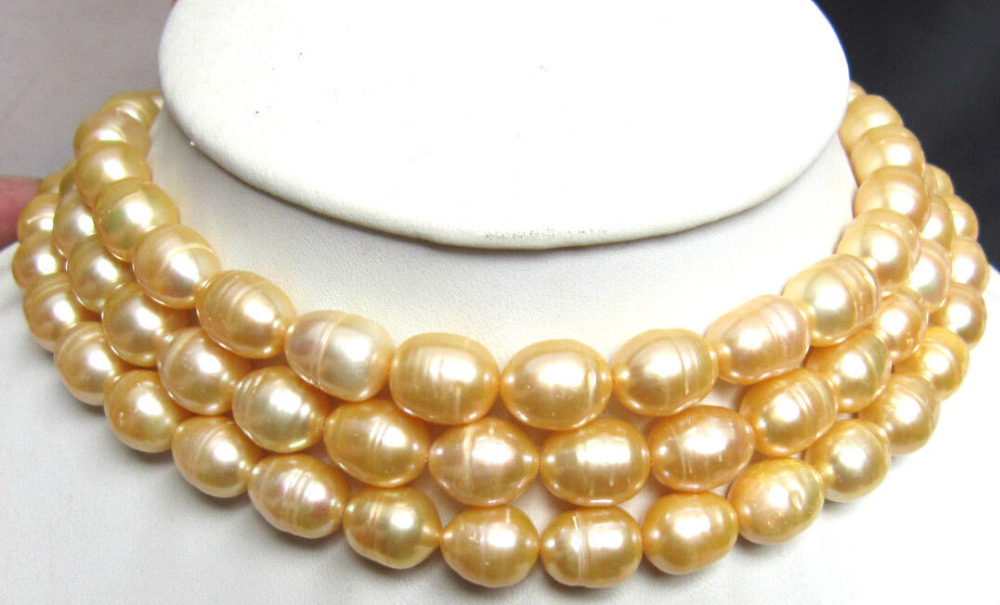 Free shipping Quality Fashion Picture>HUGE 13MM NATURAL SOUTH SEA GENUINE GOLDEN PEARL NECKLACE 48