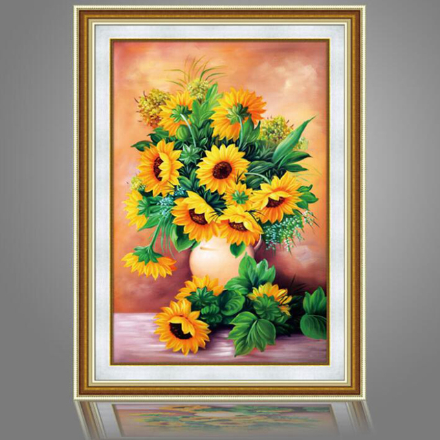 profiled diy diamond painting needlework full diamond embroidery sunflower vase painting pattern home decoration cross stitch - Vase Painting