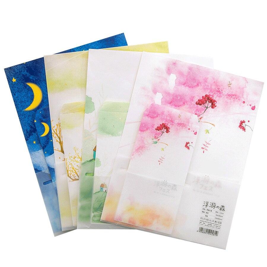 9pcs/Set 3 Envelopes+6 Writting Paper Floating Forest Series Envelope For Gift Korean Stationery