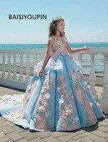 2018 синие кружевные пышные платья для девочек, бальное платье, Детские платья празднования дня рождения, подростковые платья принцессы для м