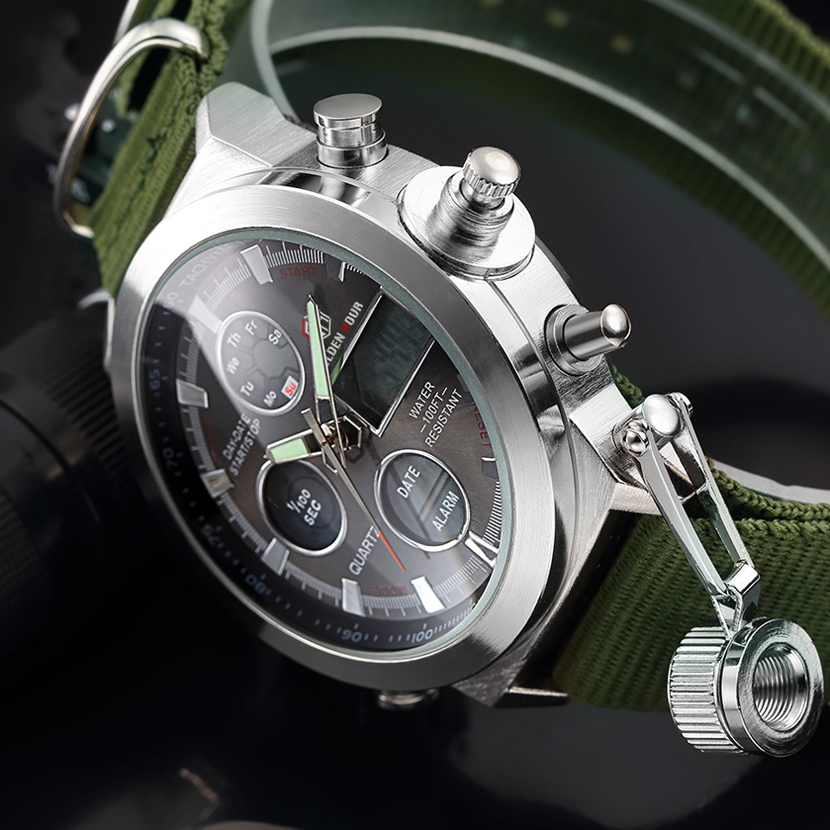 Image 2 - GOLDENHOUR Sport Men Wristwatch Fashion Men Quartz Watch Nylon Strap Week Display Army Military LED Clock Relogio Masculino-in Quartz Watches from Watches