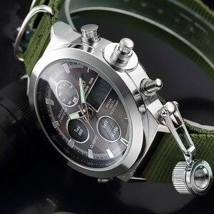Image 2 - GOLDENHOUR Sport Men Wristwatch Fashion Men Quartz Watch Nylon Strap Week Display Army Military LED Clock Relogio Masculino