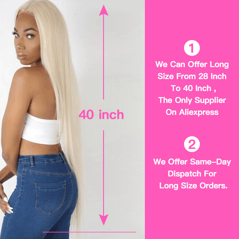 Image 4 - QUEEN BEAUTY 1/3/4 613 Blonde Hair Extensions Brazilian Hair Weave Bundles Straight Remy Human Hair 26 28 30 32 34 36 38 40 inch-in Hair Weaves from Hair Extensions & Wigs