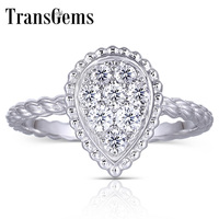 Transgems 18K 750 White Gold F Color Moissanite Pear Shape Ring for Women Fine Jewelry Wedding Ring Anniversary Gifts