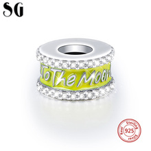 цена на SG 925 sterling silver I love you to the moon beads with yellow enamel charms fit authentic pandora bracelets diy jewelry gifts