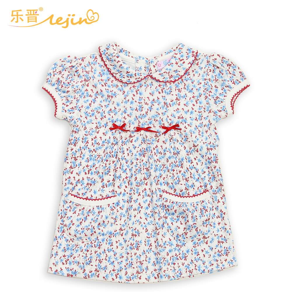 LeJin Baby Girl Clothing Shirt Bluse Baby Tøj Baby Wear With Flower Infant Toppe i sommer i 100% Cotton