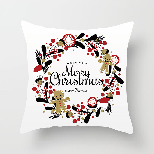 Christmas Cushion Cover Merry Christmas Decoration Pillowcases Santa Claus Polyester Throw Pillow Case Cover kerstmis navidad 2