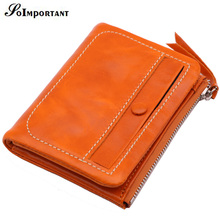 Wallet Female Genuine Leather Oil Wax Women Wallets Coin Purse Portomonee Zipper Short Card Holder Wallet Magic Ladies Clutch