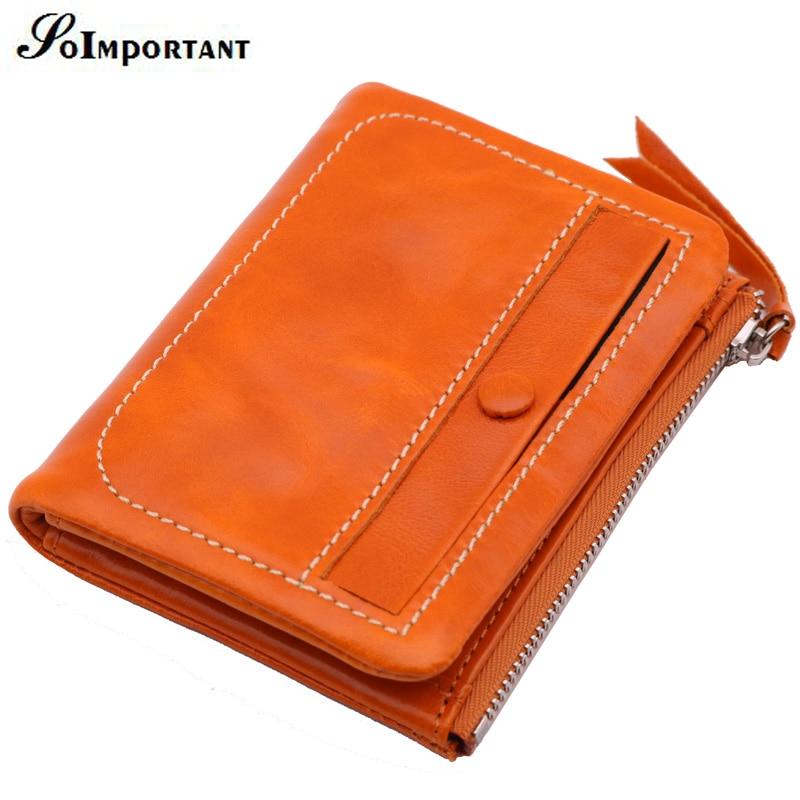 Wallet Female Genuine Leather Oil Wax Women Wallets Coin Purse Portomonee Zipper Short Card Holder Wallet