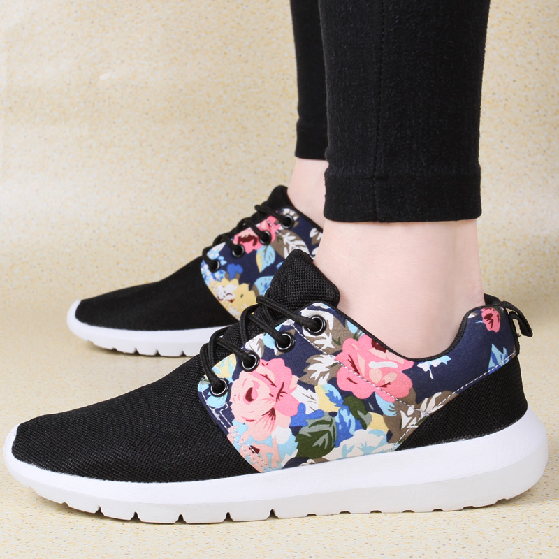 Weweya Sneakers Women Flats Tenis Breathable Print Flower Casual Shoes Woman 2018 Summer Mesh Low Top Shoes Zapatillas Krasovki