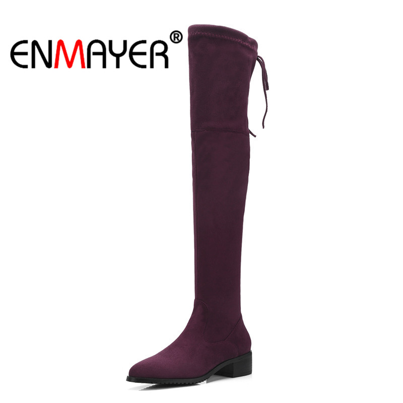ENMAYER Flock Women Over The Knee Boots Causal Round Toe Ladies shoes Lace Up 2018 Fashion Shoes woman Med Heels Boots CR855