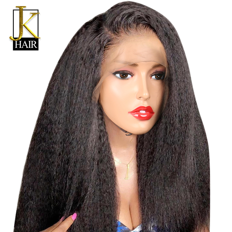 Kinky Straight Full Lace Wig 150% Density Remy Brazilian Human Hair Wigs For Women Natural Black Front Pre Plucked Lace Wig JK