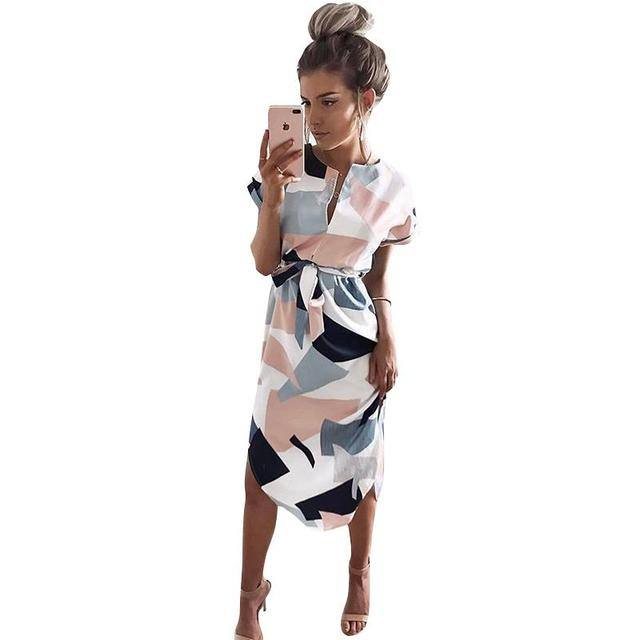 New Summer Dress Women Printed  Vestidos Sexy V-Neck Cinch Waist Slim Work Dress Casual Office Business Dresses WS221Y