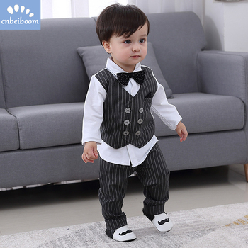 2019 New Kids Boy Clothes Baby Gentleman Suit Clothing Sets Fake two piece vest shirt Toddler children 1-4Y Birthday Party Dress grille