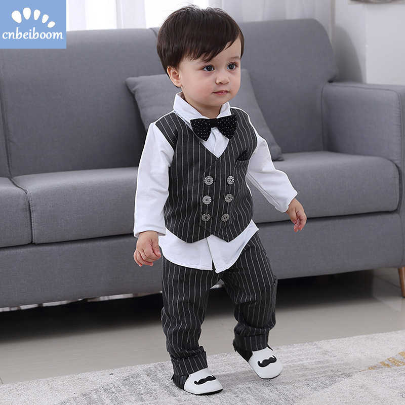 d7f63bbc5fdc5 2019 New Kids Boy Clothes Baby Gentleman Suit Clothing Sets Fake two piece  vest shirt Toddler