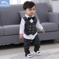 2019 New Kids Boy Clothes Baby Gentleman Suit Clothing Sets Fake two piece vest shirt Toddler children 1 4Y Birthday Party Dress