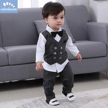 2020 ילדים חדשים ילד בגדי תינוק אדון חליפת בגדי סטים מזויף שתי חתיכה אפוד חולצה פעוט ילדי 1 4Y מסיבת יום הולדת שמלה