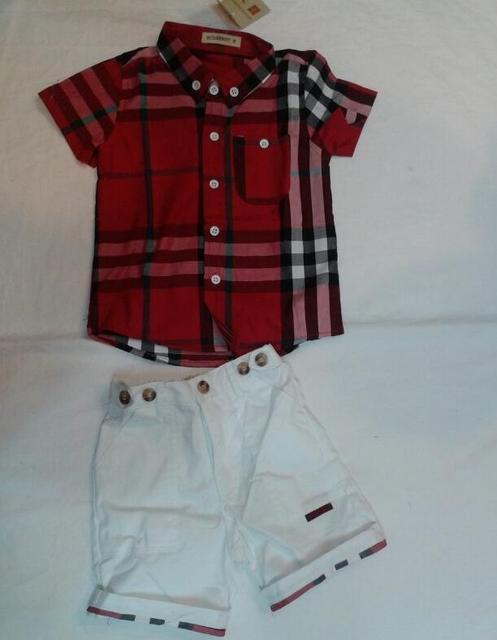 Опрятный стиль Мальчики Детские Красный плед Короткий рукав рубашки + белые шорты костюмы Костюм летние Дети 2 шт. костюм оптовая