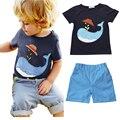 2016 Новое Прибытие лето мальчик комплект одежды акула печатных Футболку + шорты 2 шт. набор детская одежда