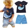 2016 New Arrival summer baby boy clothing set shark printed T-shirt + shorts 2 pieces set kids clothes