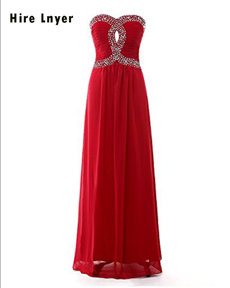 HIRE LNYER Custom Made Beading Pleat Formal Gown Red Blue Purple Grape Long Chiffon Bridesmaid Dress 2019 Vestidos Alibaba China