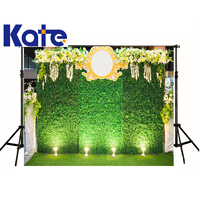 kate Wedding Photographic Background Stage Lighting Flowers Grass Green Background Plants Photocall Backdrops Kids Wedding