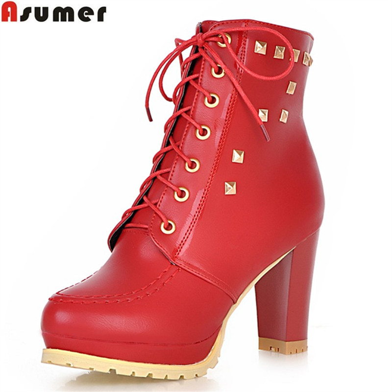 ASUMER large size 33-43 2016 hot sale soft leather women boots thick high heels round toe platform lace up solid ankle boots shiningthrough size 33 43 winter women boots thick high heels round toe platform shoes solid pu leather mid calf boots