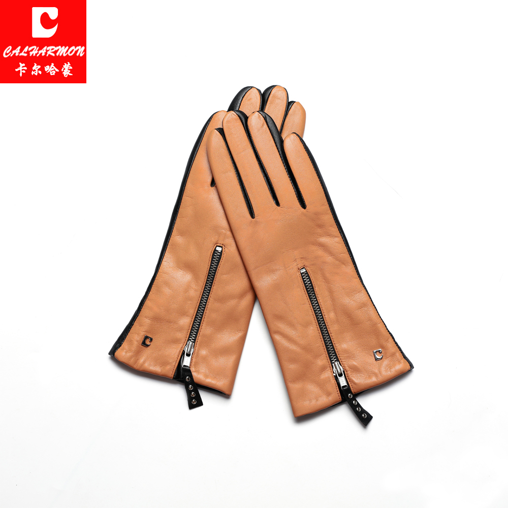 2017 Winter Women Leather Gloves High Quality Brown Genuine Leather Zipper  Mittens CALHARMON Workout Gloves P2011