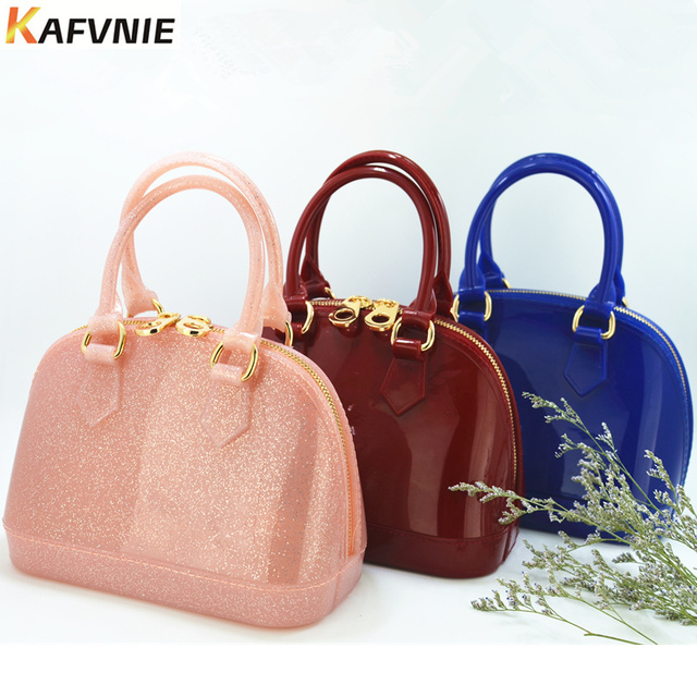 Children's Jelly bag 18.5 cm Size 27Color Kid Girls PVC Candy Colors Shell Shoulder HandBag Silicon Tote Beach Satchel bag Purse