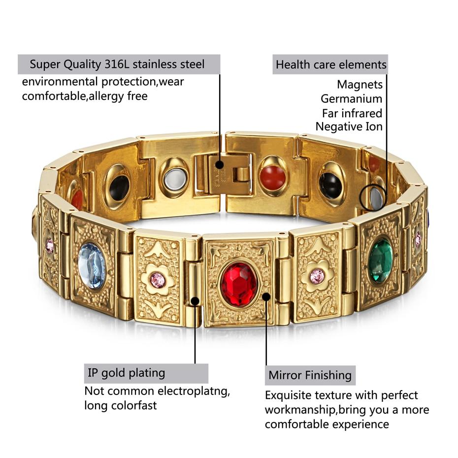 Rainso Stainless Steel Bio Energy Bracelet Fashion Health FIR Bangle Magnetic Jewelry Bracelets For lady 5