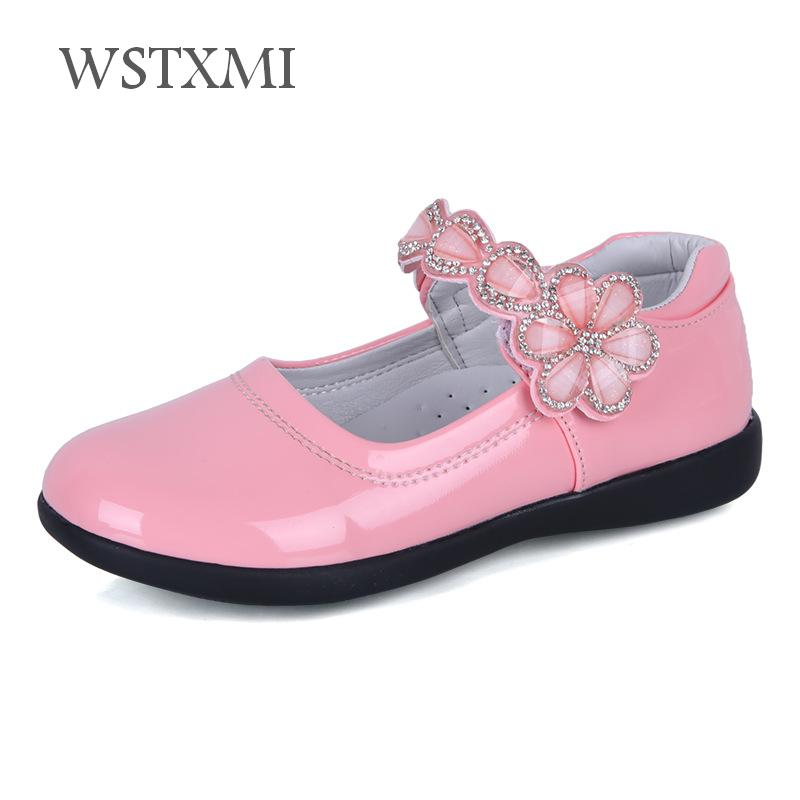 Summer Girls Flowers Dress Leather Shoes for Kids Flat Black School Performance Shoes Fashion Children Princess Wedding Sandals