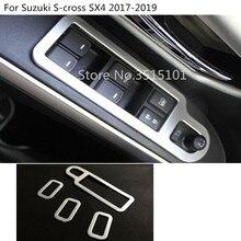 Автомобиль ABS Матовая Внутренняя двери, окна, стекло панель подлокотник Лифт кнопка включения обрезки 4 шт. для Suzuki S- крест SX4 2017 2018 2019