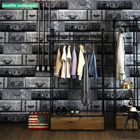 Retro Vintage Leather Box Pattern Wallpaper Living Room Bedroom Barber Clothing Store Restaurant Cafe Background Wall Paper