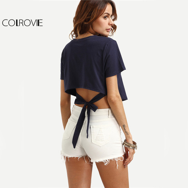 bf6c592b28 COLROVIE Self Tie Back Crop Top Asymmetrical T-shirt Women Navy Sexy Casual  Summer Tops