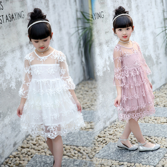7c05b4d056f1 2-7Years Girls Lace Dress Fancy Kids Princess Casual Dresses Summer White  Pink Sundress Beach