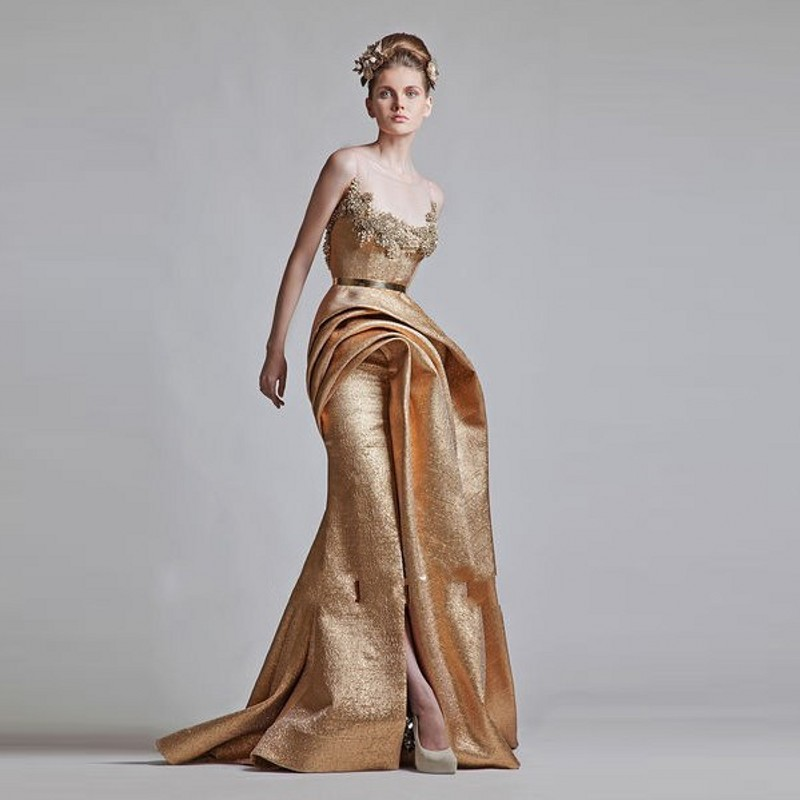 Popular Evening Gowns Gold-Buy Cheap Evening Gowns Gold lots from ...