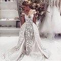 Vestidos De Novia 2017 Scoop Neck Mermaid Wedding Dresses Luxurious Appliques Wedding Dress Detachable Train Robe De Mariage