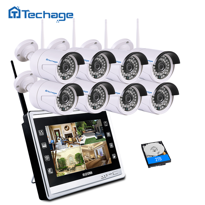 Techage 8CH 960P Wireless NVR CCTV System Kit 11 LCD Screen Monitor 1.3MP Outdoor IP66 Wifi IP Camera Security Surveillance Set 10 lcd monitor wireless nvr with 4pcs 720p wireless camera make up wireless surveillance system easy instal and easy use
