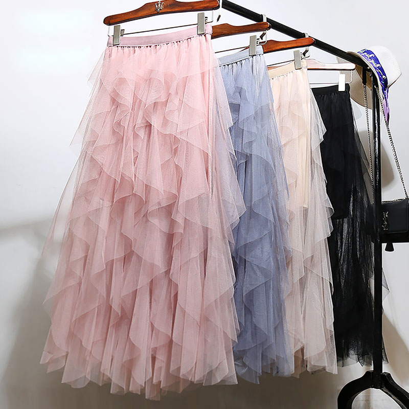 Women irregular Tulle Skirts Fashion Elastic High Waist Mesh Tutu Skirt Pleated Long Skirts Midi Skirt Saias Faldas Jupe Femmle 39