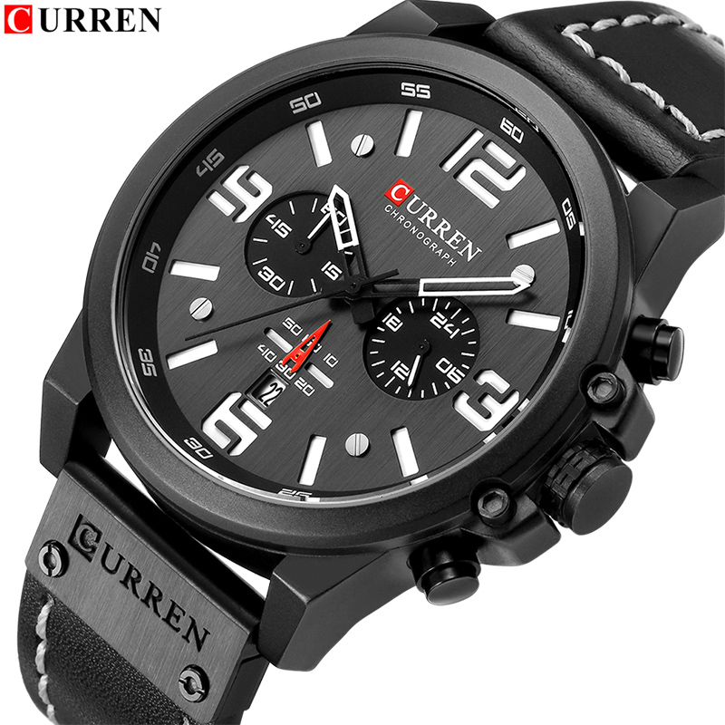 New Watches Men Luxury Brand CURREN Chronograph Waterproof Quartz Watch Male Leather Date Sports Wristwatch Relogio Masculino цена