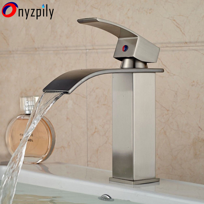 Single Handle Brushed Nickel Bathroom Basin Faucet Waterfall Spout Hot&Cold Sink Hot&Cold newly nickel brushed bathroom sink faucet cold