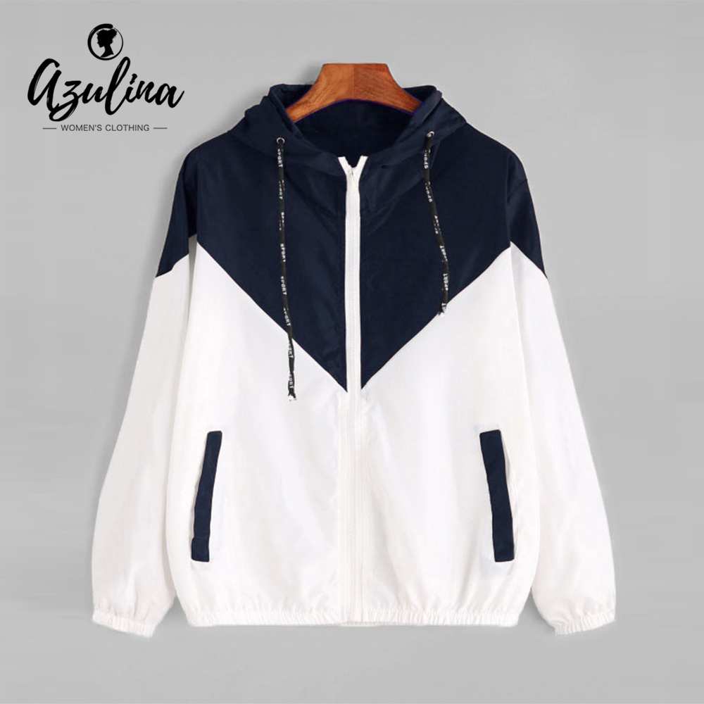 AZULINA Hooded Two Tone Windbreaker Jacket Patchwork Jackets Women Color Block Zipper Jacket Fall Casual Coats Outerwear