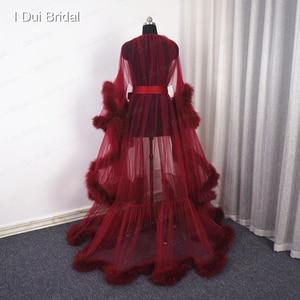 Image 4 - Borgonha pluma robe boudoir tule ilusão nupcial robe longo presente para a noiva vestido de festa do baile
